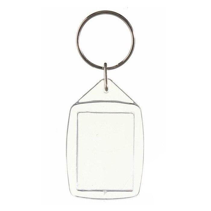 20x Clear Acrylic Plastic Blank Keyrings Insert Passport Photo Keychain Keyfob