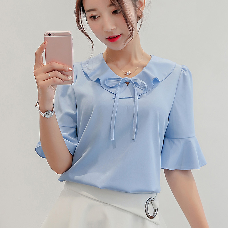 Peter Pan Collar Summer Blouses Shirts Women Flare Sleeve Solid Sexy Pullovers Female Plus Size Tops Tees