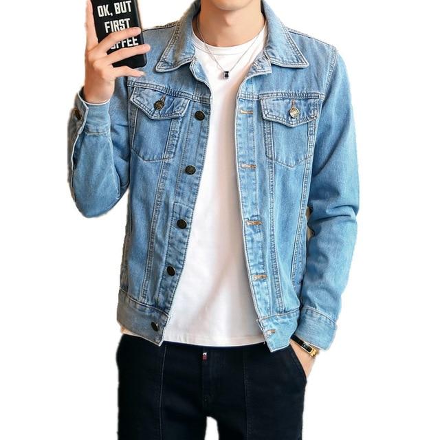 Men Blue Denim Jacket Plus Size Bomber Jacket High Quality Casual Slim Vintage Jean Jacket Harajuku Fashion Coat