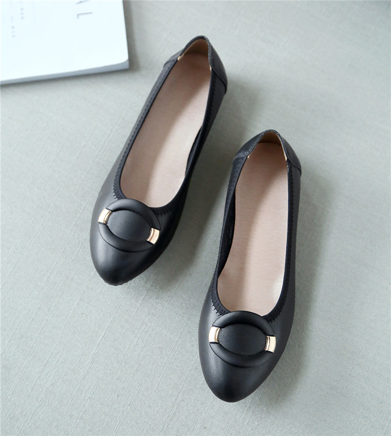 Women Flats Genuine Leather Shoes Loafers Slip On Flat Heel Boat Shoes Causal Flats Comfortable Four Seasons Footwear Doug Shoes