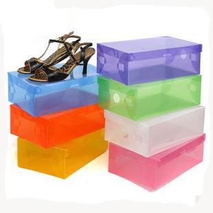 plastic transparent shoebox thickening crystal shoes box shoes storage box  The drawer type shoe box