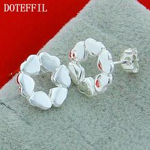 Factory Outlet 925 Silver Stud Earrings Woman Romantic Heart To Heart Women Silver Earrings High Quality Silver Free Shipping high quality 948 06g silver conductive paint silver paste repair keyboard or soft wire free shipping
