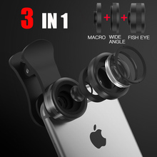 3 in 1 Clip-On Mobile Phone Lens for iphone xiaomi samsung redmi Kits universal fisheye wide angle macro camera 3 Separate Lens
