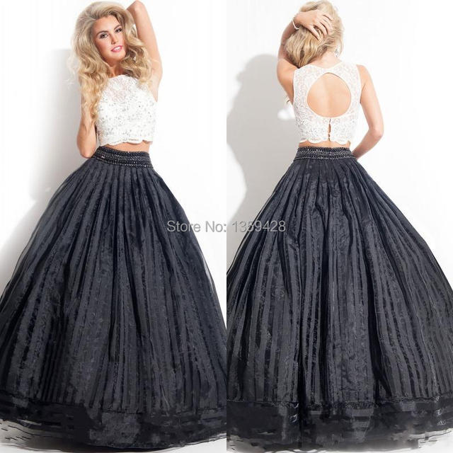 New Design Fashion Floor Length Ball Gown O Neck Open Back Black And