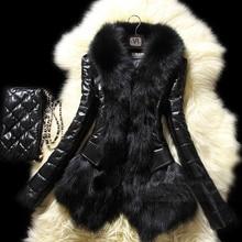 Women Black Rabbit Fake Fur Coat Raccoon Patchwork Fur Collar Winter Jacket Outerwear Casacos Femininos Abrigo Mujer Plus Size