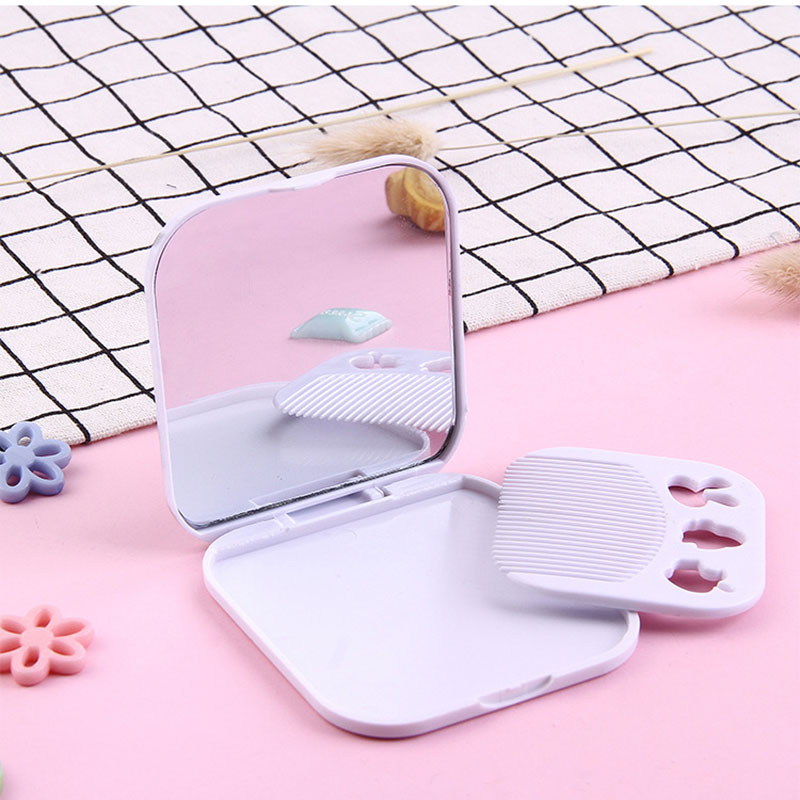 Cute Girls Make Up Mirror Square Folding Mirror With Comb Plastic Student Pocket Mirror Black And White