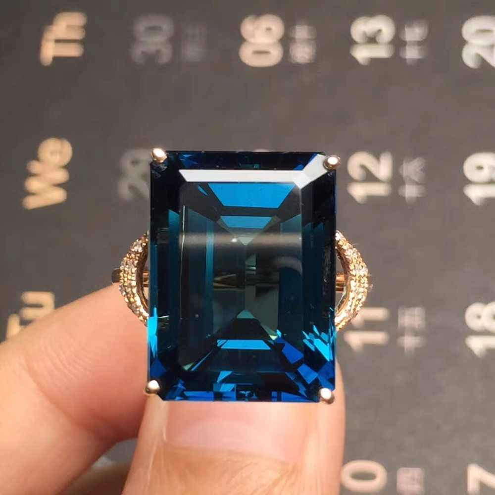Fine Jewelry Customized Size Real 18K Rose Gold AU750 100% Natural London Blue Topaz Gemstone Female Rings for Women Fine Ring