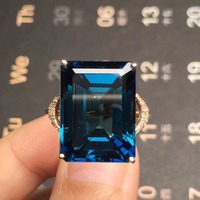 Fine Jewelry Real 18K Rose Gold AU750 100% Natural London Blue Topaz Gemstone Female Rings for Women Fine Ring
