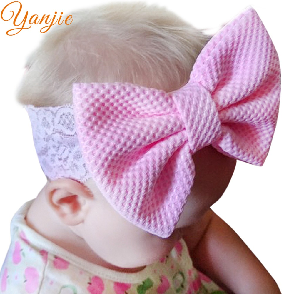 976145172e5 Soft Elastic Lace Headband For Girls Stretch Lace Headbands 2019 Big Cotton  Hair Bow Kids Solid
