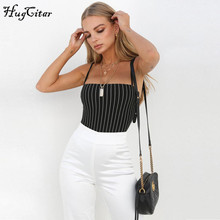 Hugcitar spaghetti straps stripe slash neck backless sexy bodycon bodysuit 2018 summer women fashion body