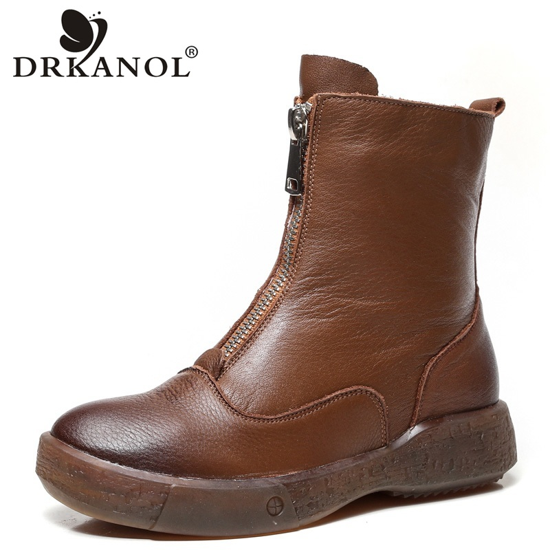 DRKANOL Soft Genuine Cow Leather Flat Ankle Boots For Women Autumn Winter Warm Short Boots Front