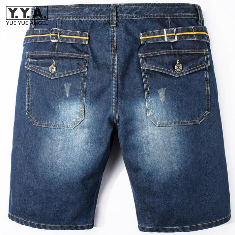 Mens Summer Vintage Demin Short Jeans Straight Slim Fit Jeans Washed Knee Length Solid Color Big Size Shorts Trousers Streetwear summer mens retro slim fit casual jeans vintage washed street wear cargo denim shorts with holes for men