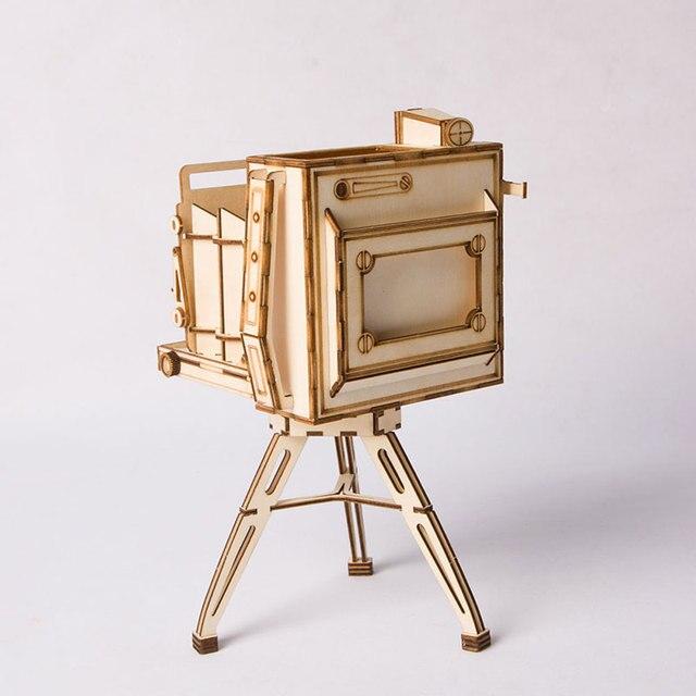 Robotime DIY Vintage Camera Toys 3D Wooden Puzzle Toy Assembly Model Wood Desk Decoration for Children Kids TG403