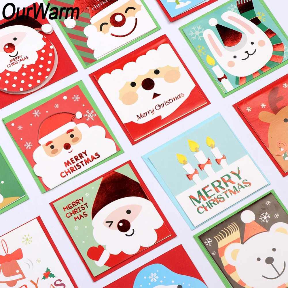 OurWarm 20Pcs Cartoon Snowman Santa Claus Christmas Greeting Card with Envelop Merry Christmas Postcard New Year 2019 Gift Card