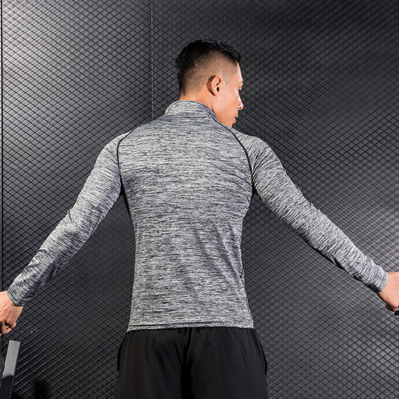 Men gym Fitness workout Hoodies Sweatshirt Quick dry Super-elastic Skinny Sportswear Man Running exercise jogging Brand clothing