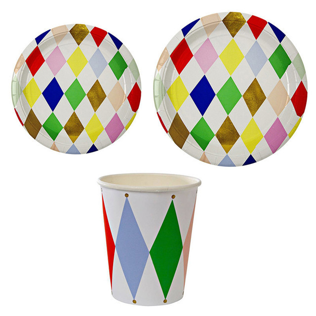 8pcs Colored Rhombus Pattern Disposable Tableware Set Paper Plates Cups Kidu0027s Birthday Party Wedding Carnival Tableware  sc 1 st  AliExpress.com & 8pcs Colored Rhombus Pattern Disposable Tableware Set Paper Plates ...