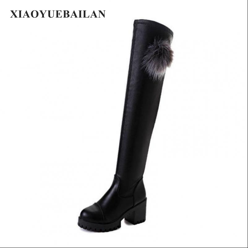 The 2017 Winter Warm Lady Thigh Boots Female High-heeled Boots With Thick Fur Ball Female Round Shoes
