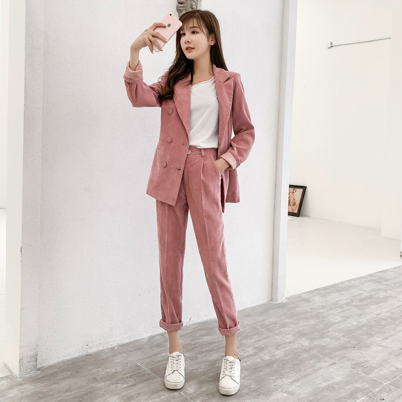 BGTEEVER Casual Pink Corduroy Women Pant Suits Double Breasted Blazer Jacket Pencil Pant Autumn Winter Warm