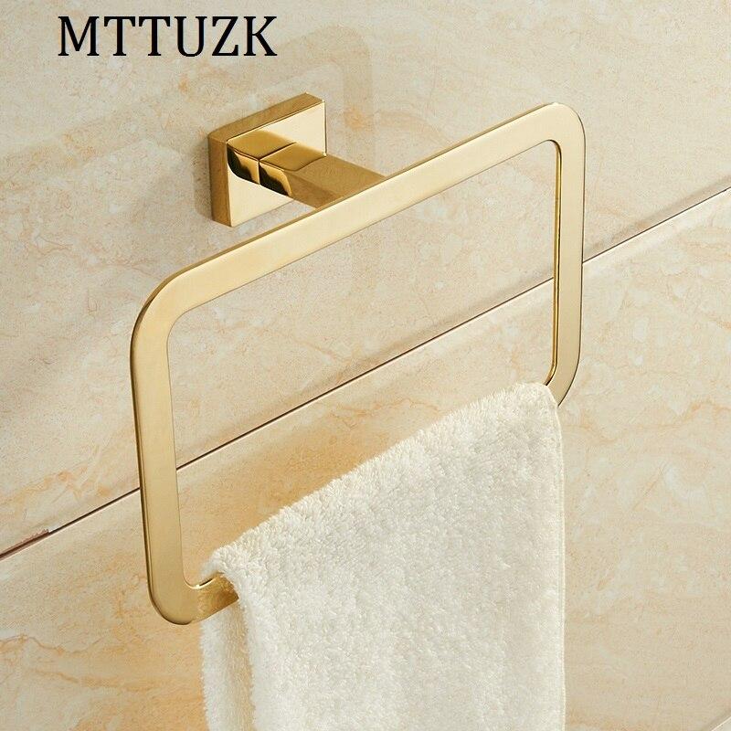 MTTUZK golden stainless steel chrome bathroom square towel ring bathroom towel hardware pendant Towel Rack Bathroom