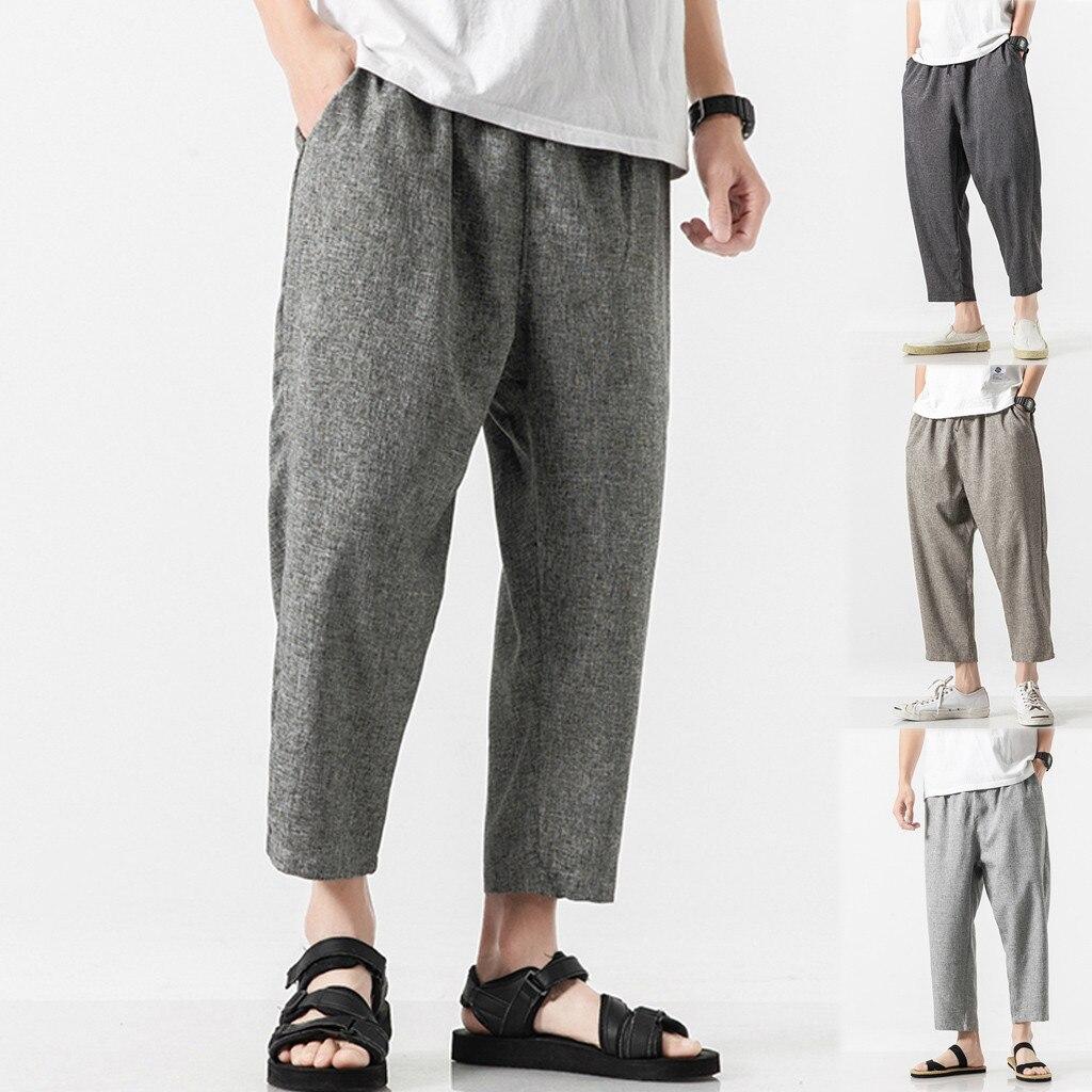 Men's Casual Vintage Loose Cotton Linen Pure Color Patchwork Ankle-Length Pant