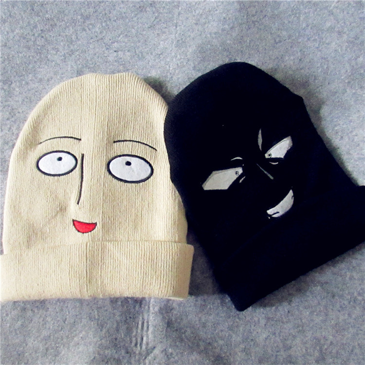 Anime ONE PUNCH-MAN Cosplay Costumes Accessories Hat Saitama Blankly Expression Knitted Hat Cap men and women That's funny.