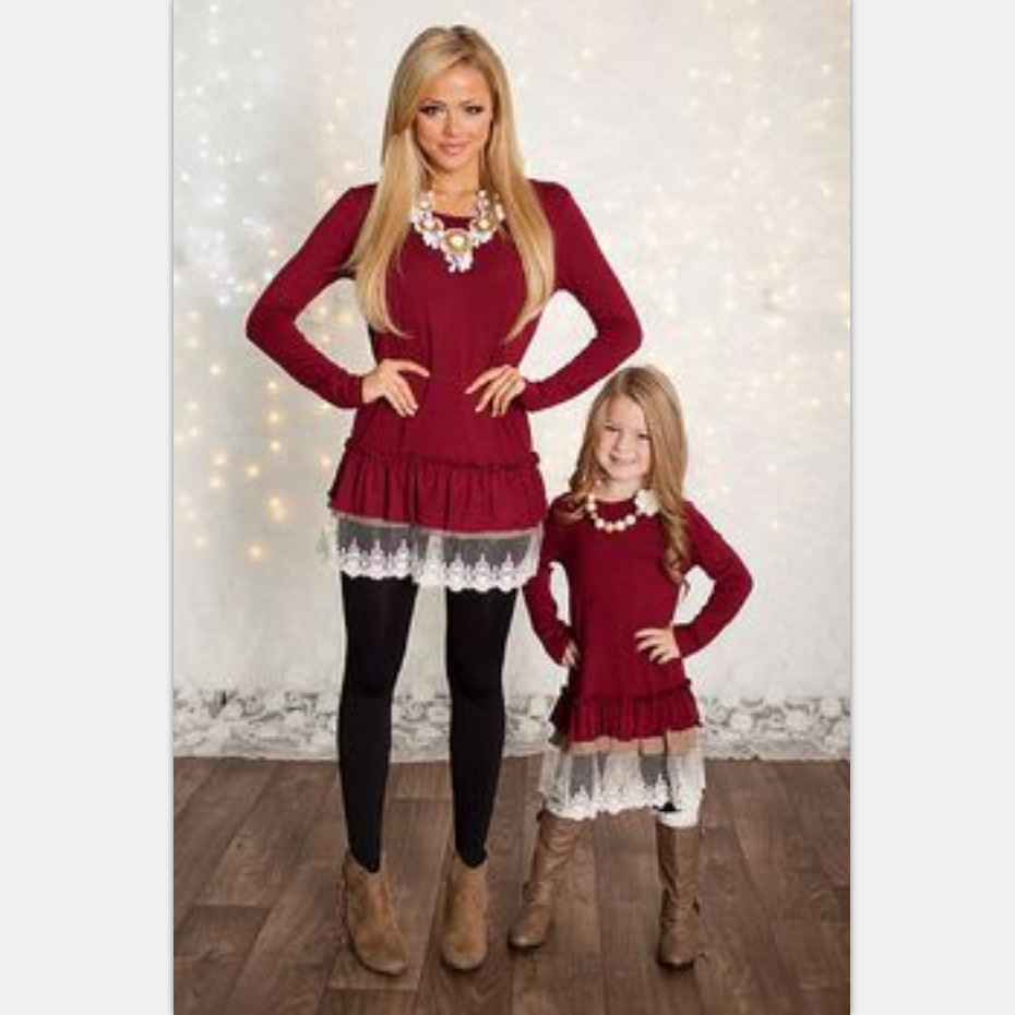 24acb205a022f mommy and me fashion dresses mvupp mother daughter dresses lace patchwork  red solid long sleeves family