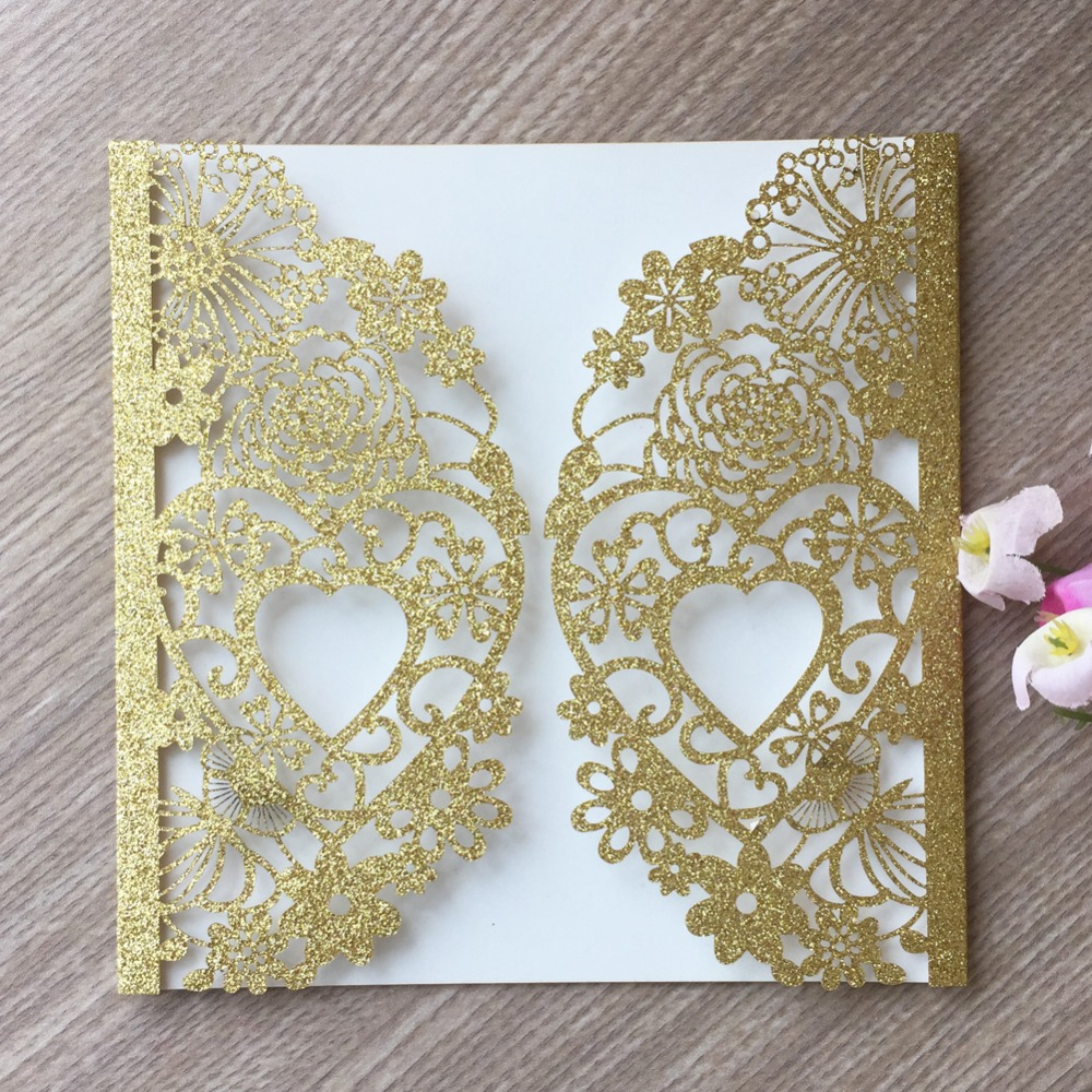 Best Wedding Invitations Cards: 100pcs Laser Cut Glitter Rose Gold Silver Color Marriage