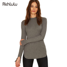 RichLuLu Women Sweater Solid Gray Crew Neck Long Sleeve Knitted Pullover Autumn Split Elegant Casual Basic Female Sweater