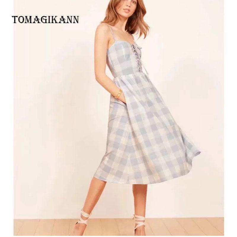 2019 Fashion Sexy Plaid Chest Lacing Spaghetti Strap Strapless Mid Calf Braces Summer Women Dresses Female Dress Vestidos