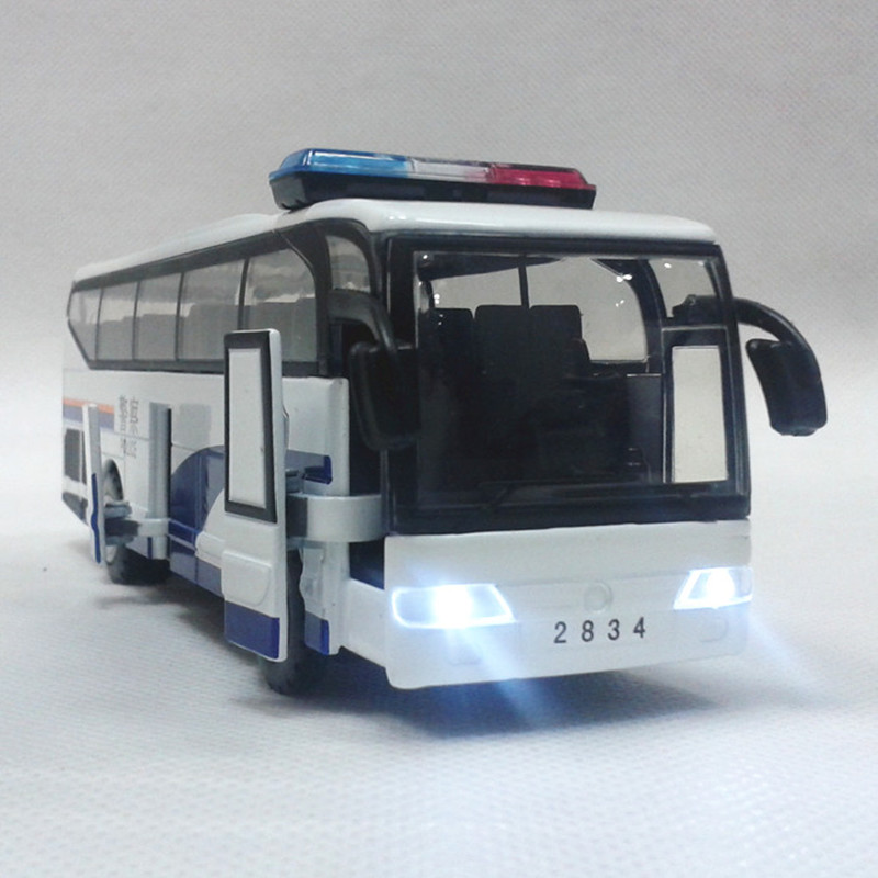 Alloy Light Big Police Bus The Door Toy Car Model Voiture