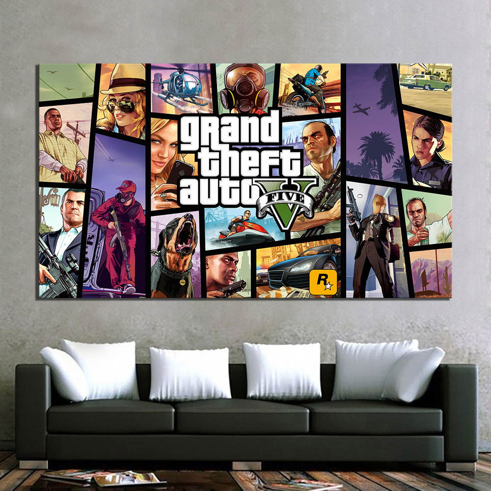 1 Piece HD Cartoon Picture Grand Theft Auto V Video Game Poster Painting GTA 5 Games Art Print Canvas Paintings Wall Art 1
