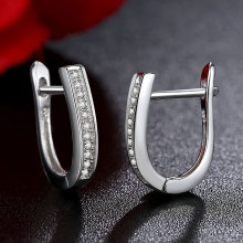 U Shape Hoop Zircon Paved Sterling Silver Earrings Jewelry