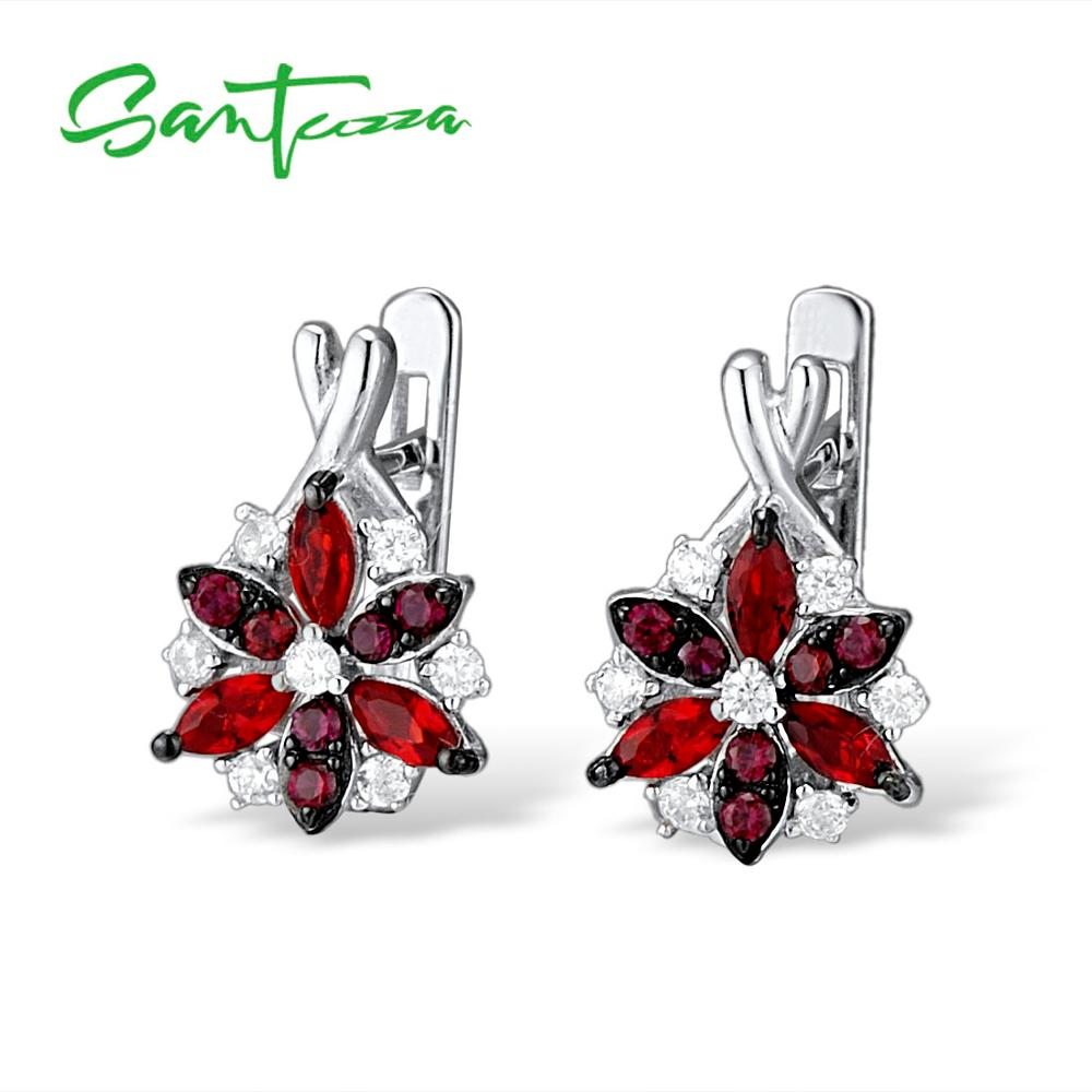 Image 2 - Santuzza Silver Stud Earrings for Women Red Stones White Cubic  Zirconia Ladies Pure 925 Sterling Silver Party Fashion Jewelrysilver  stud earringsfashion stud earringsstud earrings