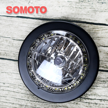 Vintage Motorcycle Headlamp Matte Black Bulb head light with LED chips Around Motorbike Front light/lamp