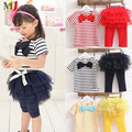 Kid Girl Stripe Bow Top T-shirt Tutu Skirt Leggings Culottes 2pcs Clothing Outfit Sets Shipping Pullover
