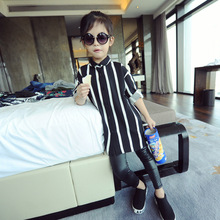 2-7Y, 2016 new autumn girls vertical stripe blouse children black and white shirt middle long style kids shirt baby basic blouse