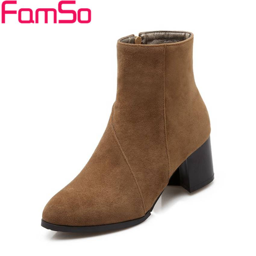 Plus Size34 43 2016 new Sexy font b Women b font boots thick heels Ankle Boots