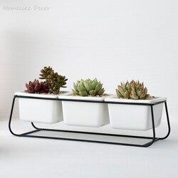 1 zestaw doniczki ceramiczne minimalistyczne sukulenta doniczki domowe baśniowe dekoracje ogrodowe Glod Stand (3 doniczki + 1 metalowa półka)