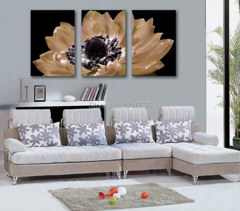 3pieces Home Decor Wall Art Picture For Living Room Bedroom Black African Daisy Gerbera Painting Print Canvas