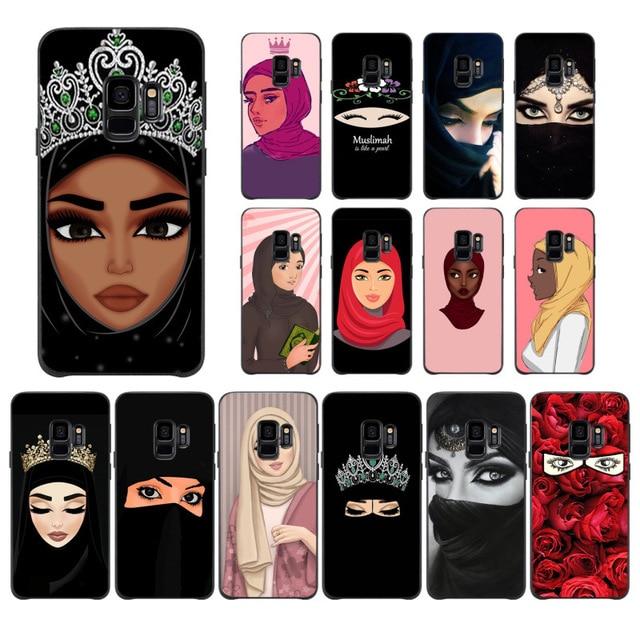 イスラム教徒イスラムグリルで目の女性のヒジャーブ顔電話ケースs9 s8プラス注8 note9 s7 s6edgeケースbabaite