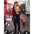 Осень комбинезон женщины фитнес комбинезон с капюшоном сексуальная бинты bodycon комбинезон черный толстовка с длинным рукавом тренировки playsuit общая T44