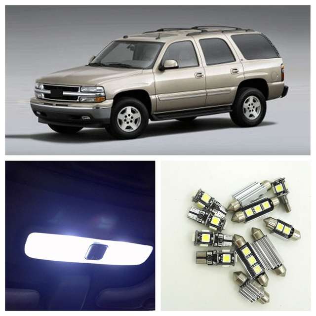 US $11 21 34% OFF 10pcs White LED Light Bulbs Interior Package Kit For  Chevy Chevrolet Tahoe 1998 2006 Map Dome License Plate Lamp Chevy B 14-in
