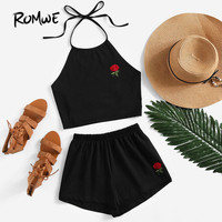 ROMWE Womens Two Piece Sets 2018 Summer Ladies Two Way Sleeveless Rose Embroidered Tie Back Halter