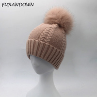 FURANDOWN 2017 New Winter Big Fox Fur pompom Hat Cap Cashmere Wool Beanies Hats For Women
