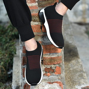 Image 5 - 2019 קיץ שחור סניקרס לטוס Weave נעלי גברים להחליק על לנשימה Tenis למבוגרים מקרית מאמני Krasovki Chaussure Homme Kadin Ayakkabı