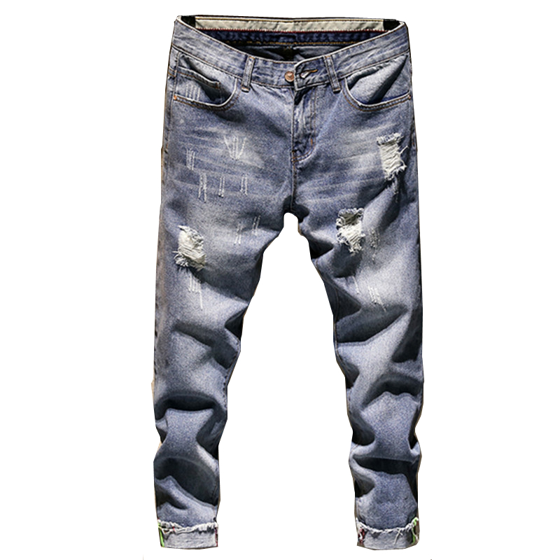 Fashion New Men's Casual Hole   Jeans   Men Slim Fit Denim Trousers Pants Male   Jeans   XY10