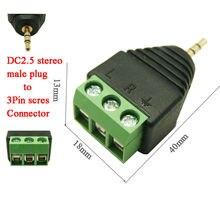 100 шт. штекер стерео 2,5 до 3pin разъем аудиоштекер DC2.5 аудио; моно для 3Pin винтовой клеммный разъем