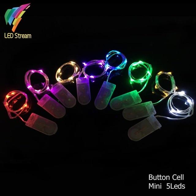 6e768296d88 Pila de botón Con Pilas 5 LED Alambre De Cobre de Color Plata Mini Hadas  Luces