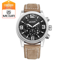 MEGIR 3010 новая мода повседневная кварцевые часы мужчины большой циферблат водонепроницаемый хронограф releather наручные часы relojes бесплатная доставка