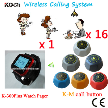 Pager System Hot Digit Watch Pager K-300plus With Durable Table Bell By DHL/EMS Shipping Free(1 watch+16 table call butt